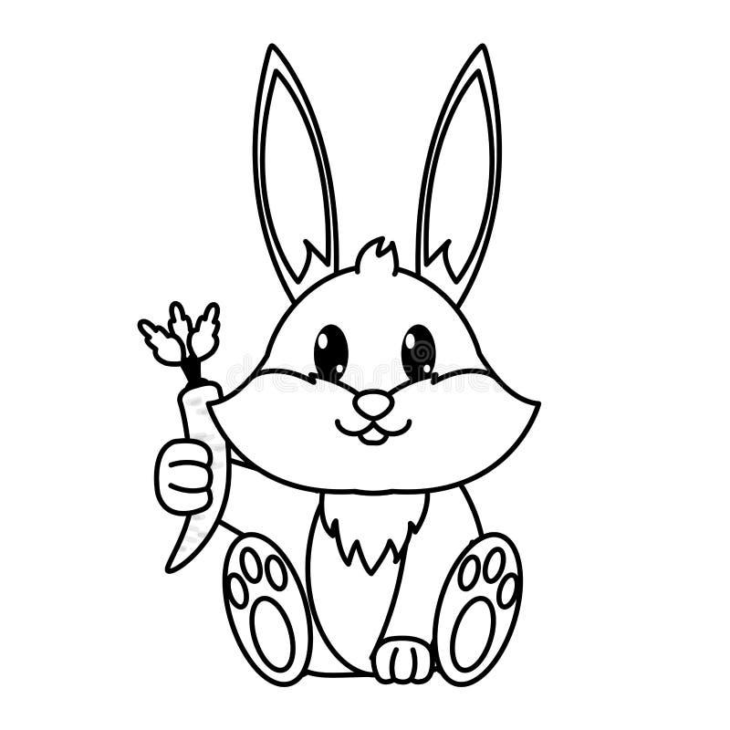 Zeichnen Sie wildes Tier des entzückenden Kaninchens mit Karotte in der Hand vektor abbildung
