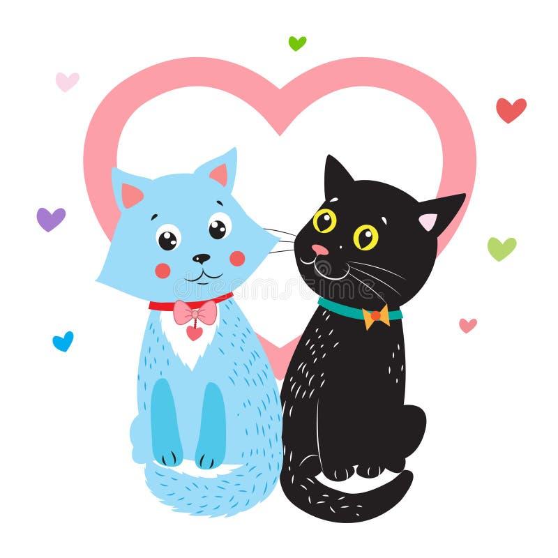Zeichnen vollkommen für Valentinsgruß-Tag Vektor-Karikatur-Tier-Illustration Zwei Katzen Ich liebe dich soviel lizenzfreie abbildung