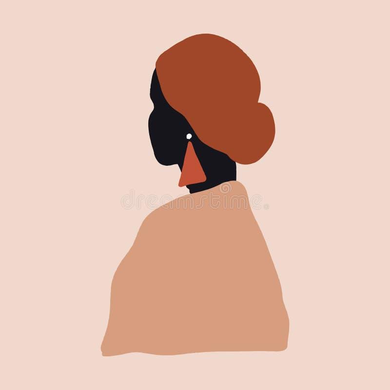 Zeichnen von Frauenkollektion Sketch Portrait Brush Schlaganfall Beige Braun Creme Moderne Abstrakte Zeitgenössische Kunst skandi stock abbildung