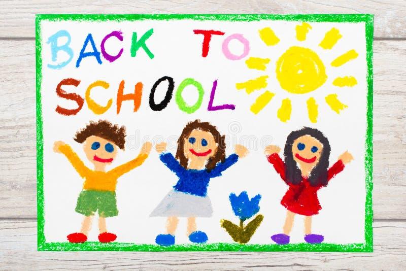 Zeichnen: Wort ZURÜCK ZU SCHULE und glücklichen Kindern Erster Tag an der Schule stock abbildung