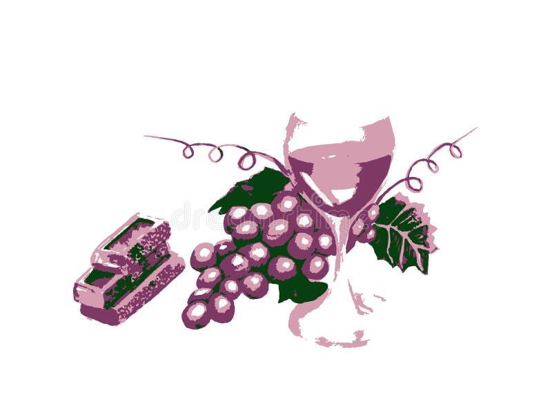 Zeichnende blaue Trauben mit Blättern, Wein lizenzfreie abbildung