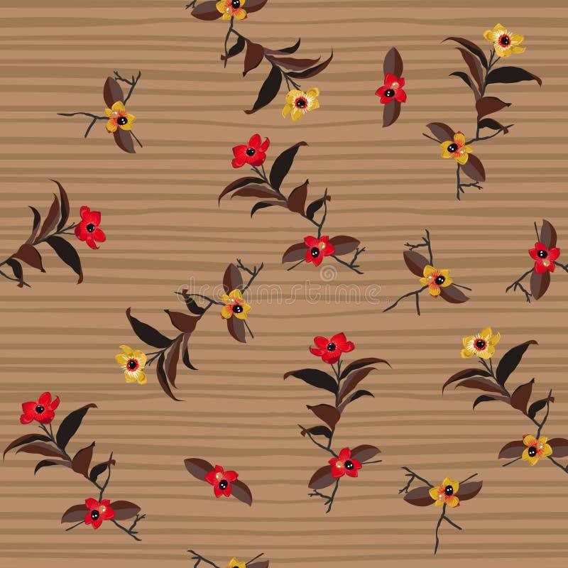 Zeichnende die Weinlese-wilde Blume an Hand streift nahtloses Muster vec lizenzfreie abbildung