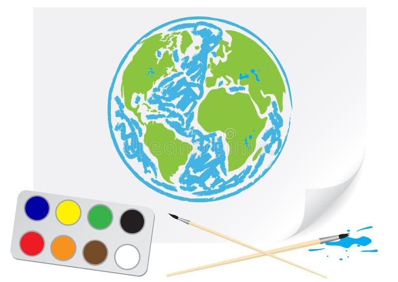 Zeichnende grüne Erde stock abbildung