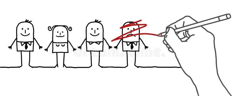 Zeichnende große Hand und Zeichentrickfilm-Figuren - Streichung lizenzfreie abbildung