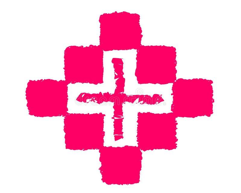 Zeichnende Logomedizin und -kreuz stock abbildung