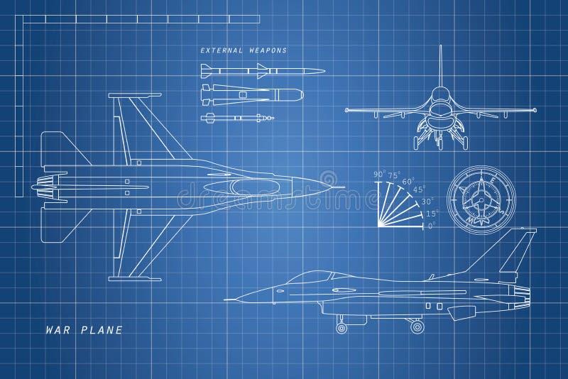 Zeichnende Militärflugzeuge Spitze, Seite, Vorderansichten Kampfflugzeugesprit vektor abbildung