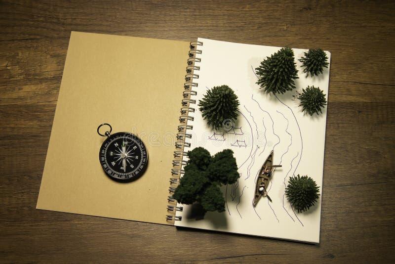 Zeichnende Planungsreise mit Reihenboot entlang dem Fluss im Wald auf braunem Buch mit Kompass lizenzfreie stockfotos