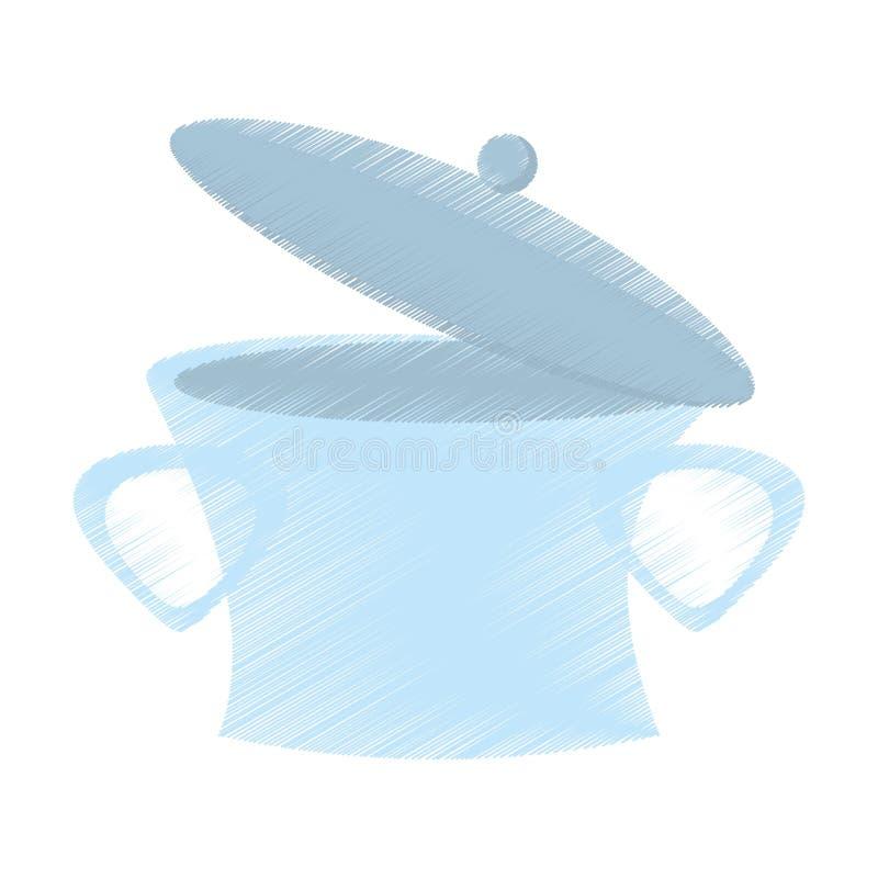 Zeichnende Stahlsuppe des offenen Topfes, die Design kocht vektor abbildung