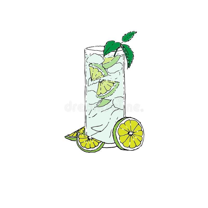 Zeichnende Vektorillustration Mojito-Cocktail-Farb-Digital Glas auf weißem lokalisiertem Hintergrund stock abbildung