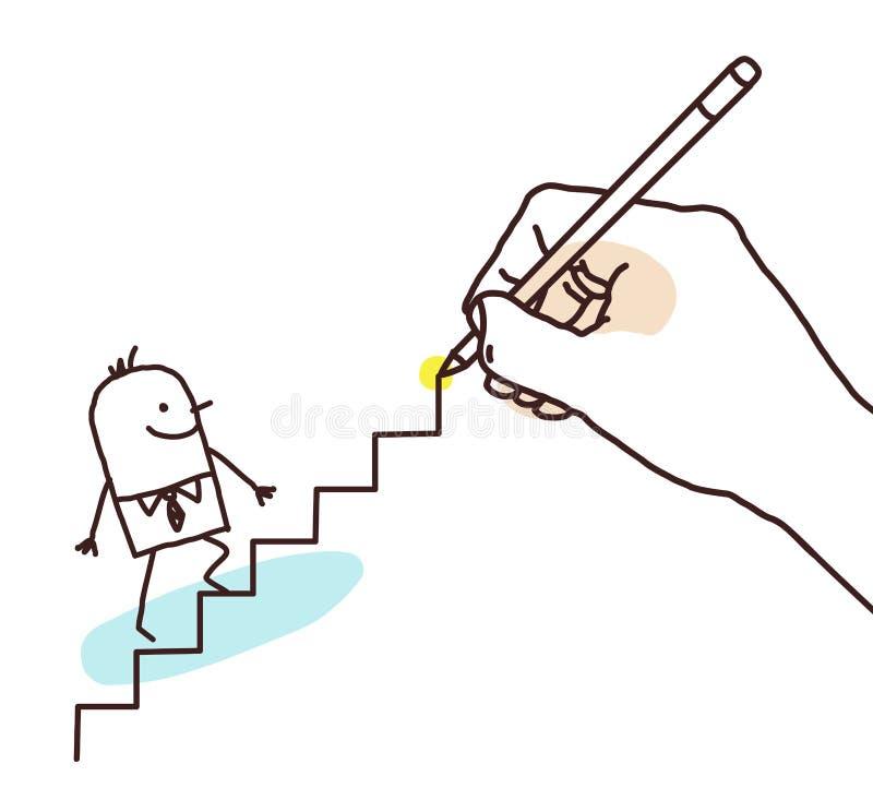 Zeichnender großer hand- Karikatur-Geschäftsmann Going Up stock abbildung