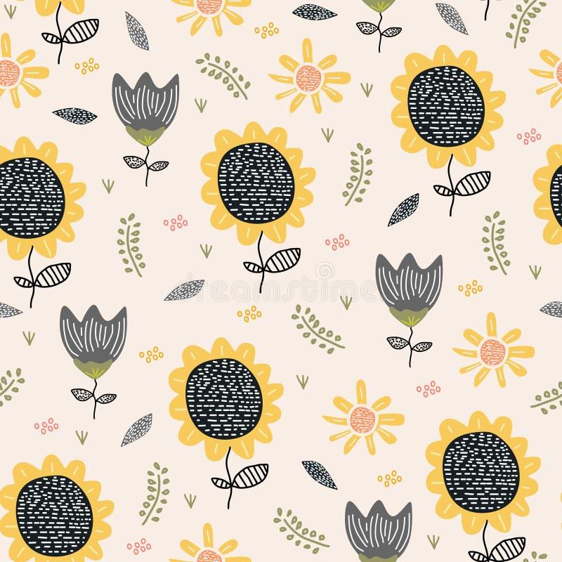 Zeichnender Hintergrund des Sun-Blumenmusters Nahtlose Handgezogene botanische Entwurfs-Vektormit blumenillustration für Textildr lizenzfreie abbildung