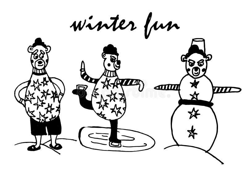 Zeichnender Satz lokalisierte Elemente des Winterspaßes, Eisbär in der Prügel im Schneewetter sculpts einen Schneemann stockbild
