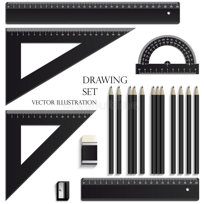 Zeichnender Satz, Machthaber, Winkelmesser, zeichnet Gestaltungselementvektorillustration an stock abbildung