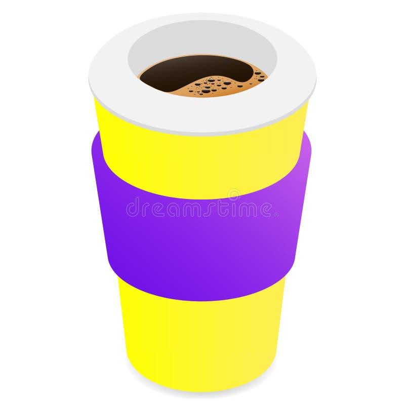 Zeichnender Vektor, thermomug mit Kaffee auf einem weißen Hintergrund vektor abbildung