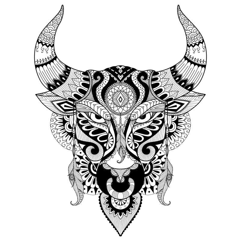 Zeichnender verärgerter Stier für Malbuch für Erwachsenen, Tätowierung, T-Shirt Design und andere Dekorationen vektor abbildung