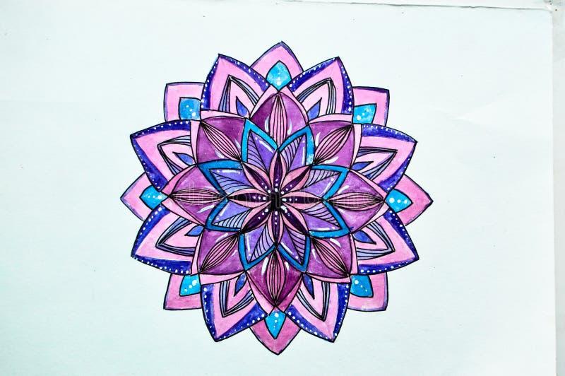Zeichnendes Aquarell im Stil zentangl Purpurs lizenzfreie abbildung