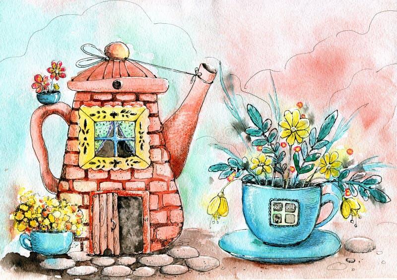 Zeichnendes Aquarell mit dem Bild des Hauses im Kessel und in der Schale Hand gezeichnet Konzept des Entwurfes für Tee, Café, Dru vektor abbildung