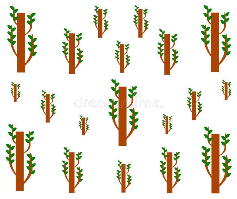 Zeichnendes geometrisches nahtloses Muster des Sprösslingsbaums stock abbildung