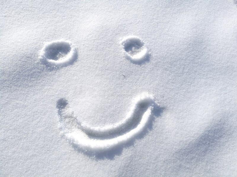 Zeichnendes Glückliches Smileygesicht Auf Schnee Im ...