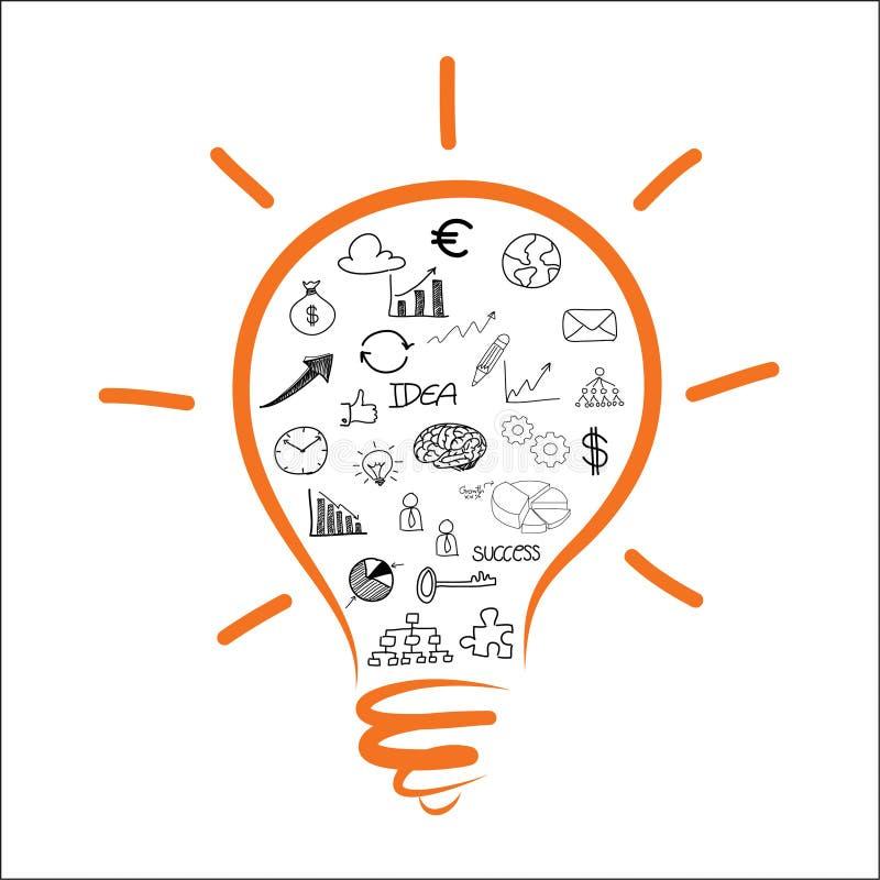 Zeichnendes Glühlampegeschäftsdiagramm lizenzfreie abbildung
