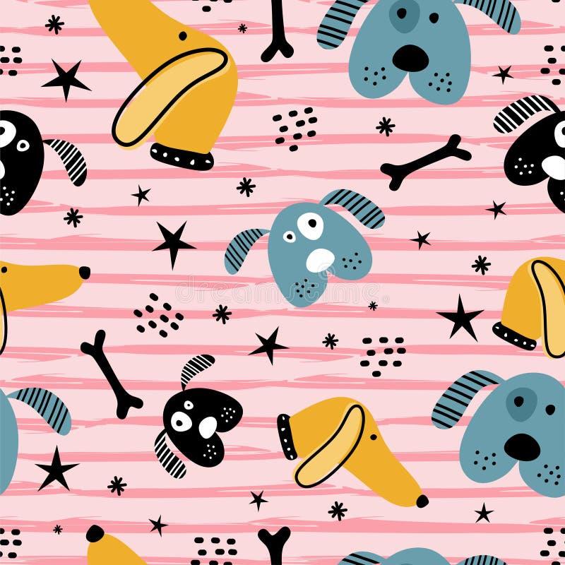 Zeichnendes Haustiertier des netten Babyhundenahtlosen Musters Lustiger Charakter mit skandinavischer kindischer Art für Kindermo stock abbildung