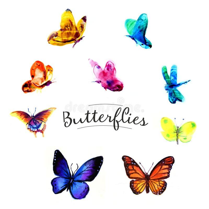Zeichnendes Schmetterlingsaquarell Getrennte Nachrichten auf wei?em Hintergrund stock abbildung