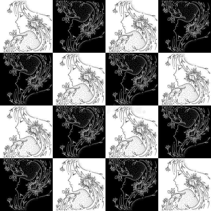 Zeichnendes Schwarzweiss-Mädchen nahtloser Beschaffenheitssternzeichen Jungfrau mit Blumen und Anlagen in ihrem Haar stock abbildung