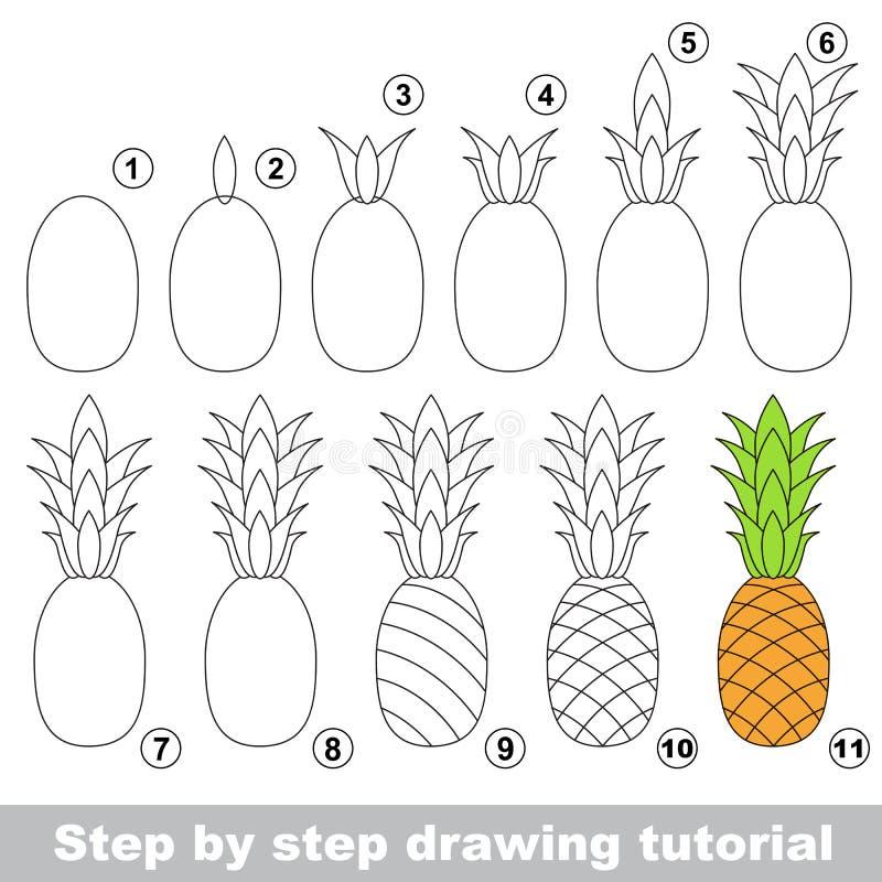 Zeichnendes Tutorium Reife Ananas vektor abbildung