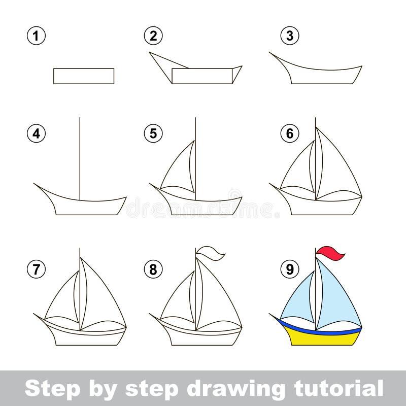 Zeichnendes Tutorium Wie man ein Boot zeichnet lizenzfreie abbildung