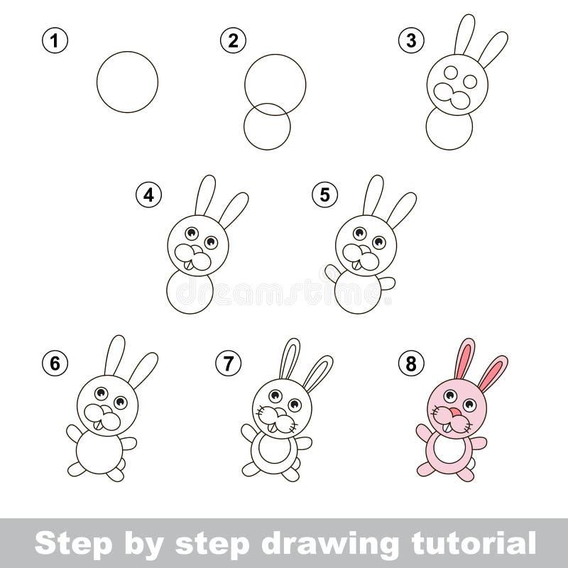 Zeichnendes Tutorium Wie man ein kleines Kaninchen zeichnet stock abbildung