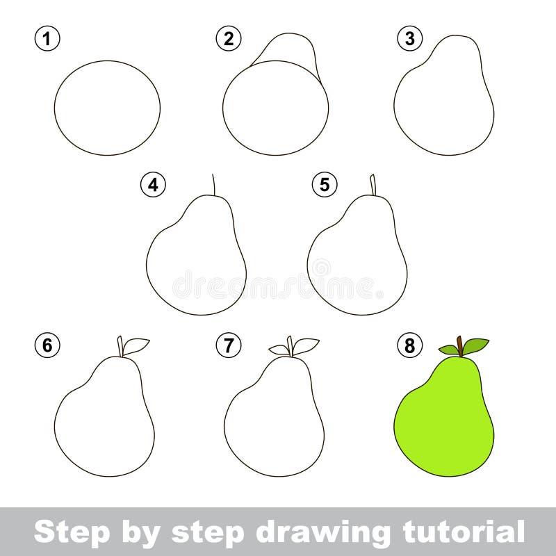 Zeichnendes Tutorium Wie man eine Birne zeichnet lizenzfreie abbildung