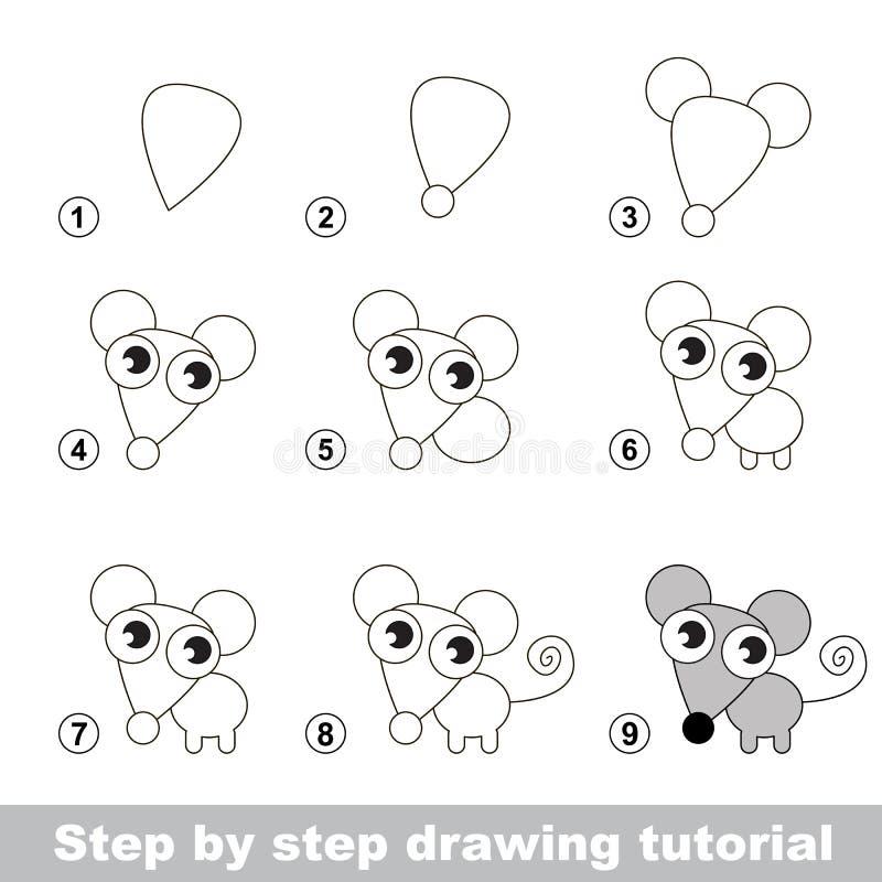 Zeichnendes Tutorium Wie man eine kleine Maus zeichnet stock abbildung