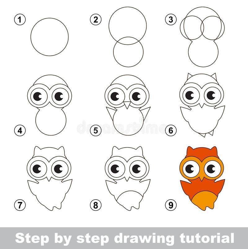 Zeichnendes Tutorium Wie man eine nette Eule zeichnet lizenzfreie abbildung