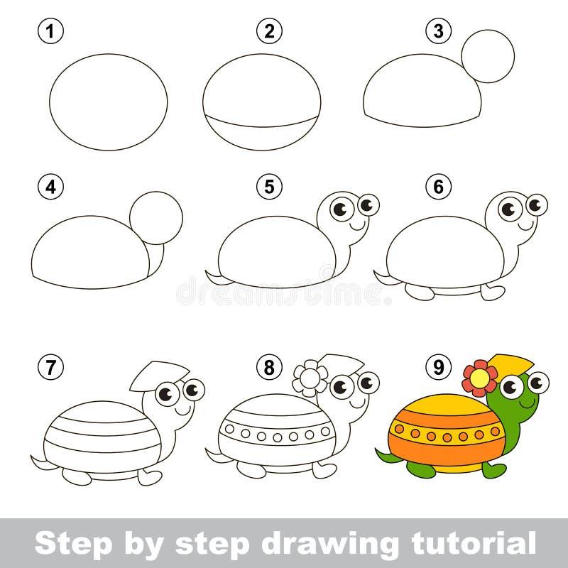 Zeichnendes Tutorium Wie man eine Schildkröte zeichnet stock abbildung