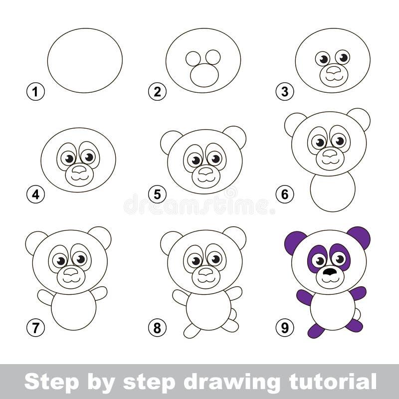 Zeichnendes Tutorium Wie man einen Panda zeichnet vektor abbildung