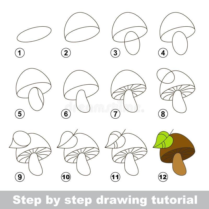 Zeichnendes Tutorium Wie man einen Pilz zeichnet vektor abbildung