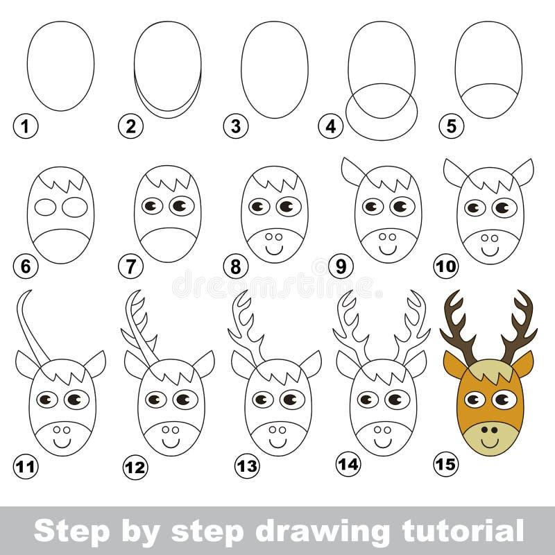 Zeichnendes Tutorium Wie man einen Rotwild-Kopf zeichnet lizenzfreie abbildung