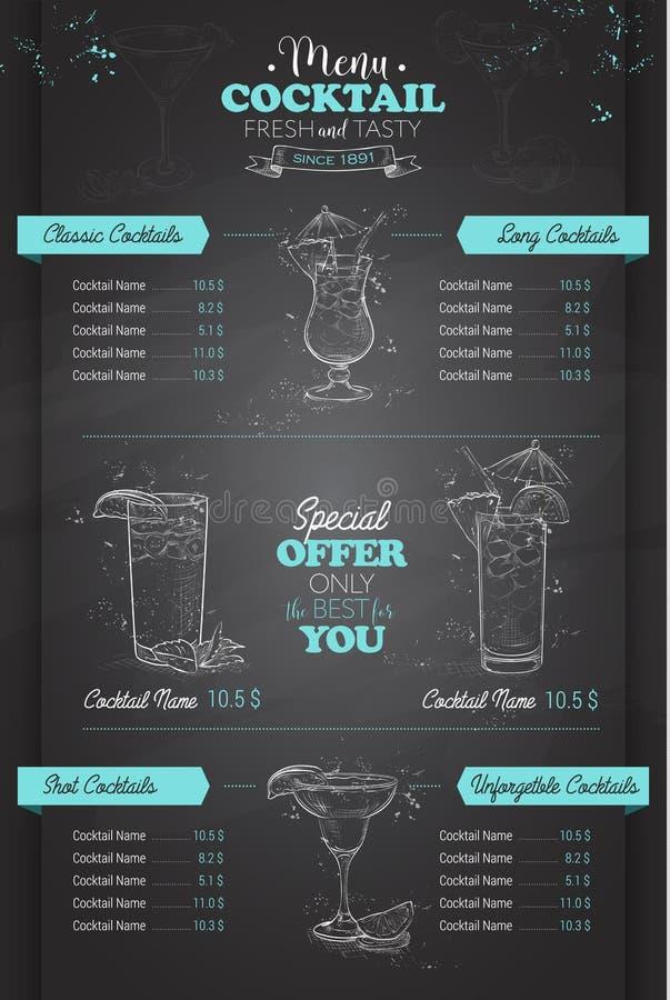 Zeichnendes vertikales Cocktailmenüdesign stock abbildung