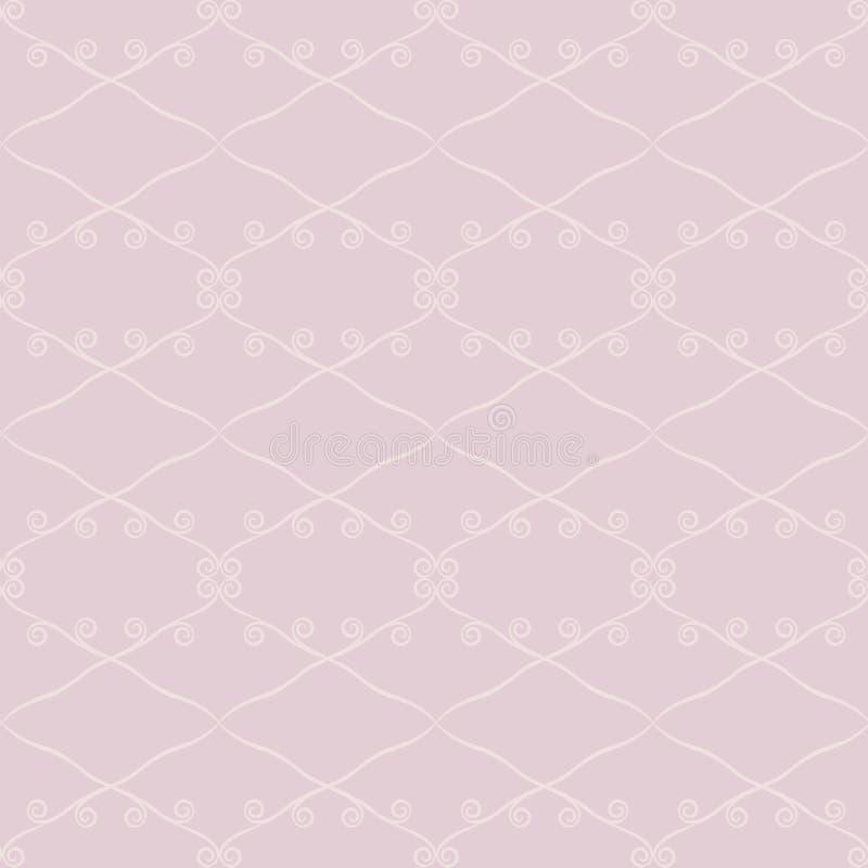 Zeichnet rosa helles Retro- nahtloses Vektormuster der Pflaume leicht der hellen Raute und Locken auf einem helleren rosa staubig stock abbildung