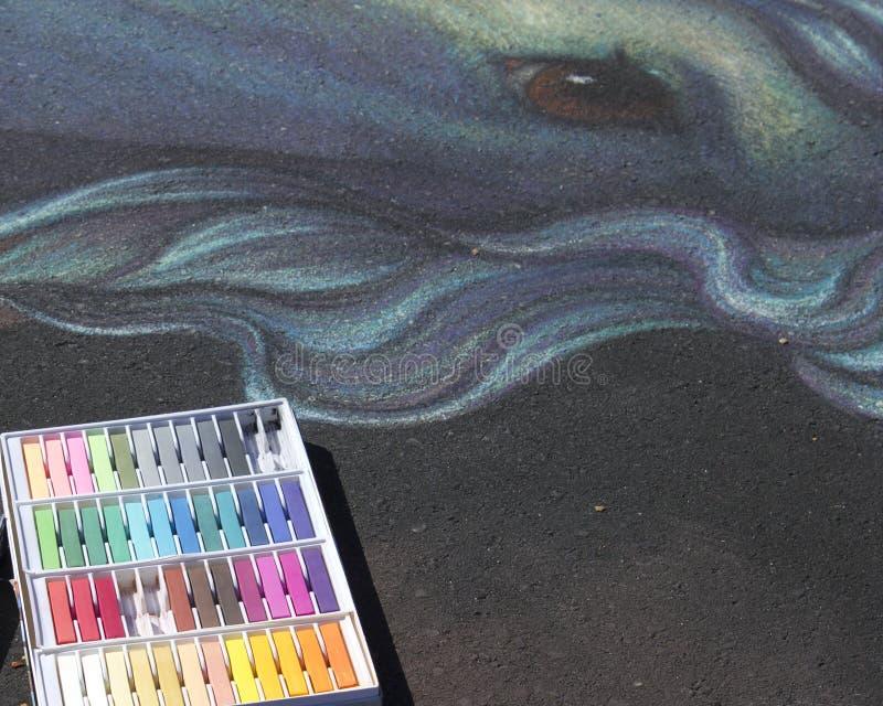 Zeichnung 3D mit Kreide lizenzfreie stockbilder