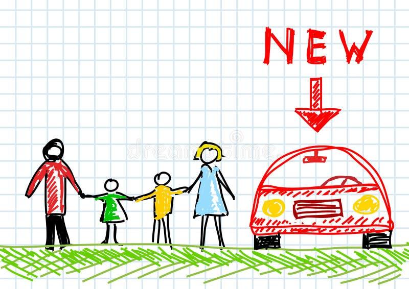 Zeichnung der Familie lizenzfreie abbildung
