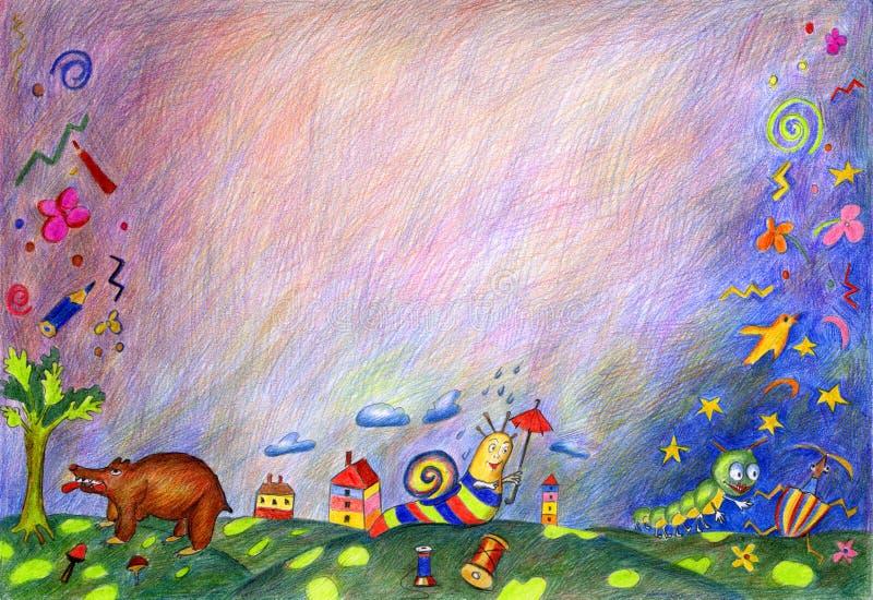 Zeichnung der Kinder eigenhändig stockfoto