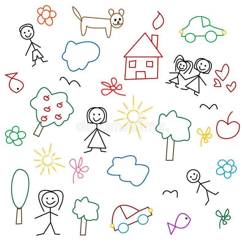 Zeichnung der Kinder - nahtloses Muster vektor abbildung