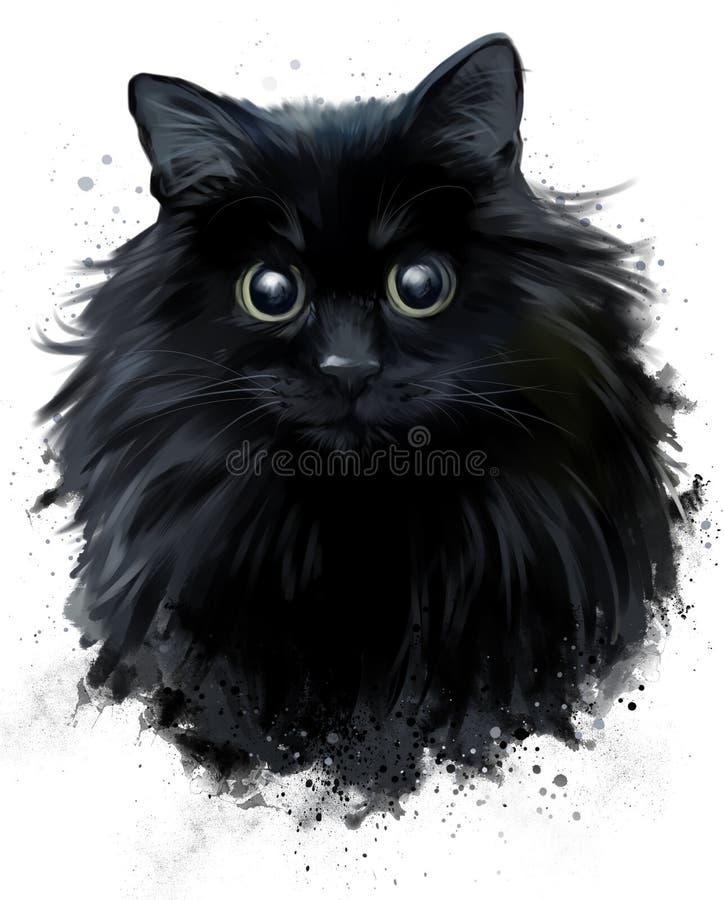 Zeichnung der schwarzen Katze in der Schmutzart stock abbildung