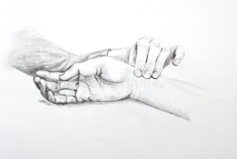 Zeichnung des Baums auf einem weißen Hintergrund Finger auf Impuls stockfotos