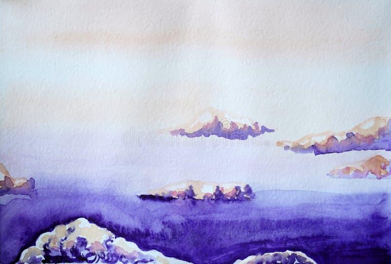 Zeichnung des hellen purpurroten Himmels, violette Wolken stock abbildung