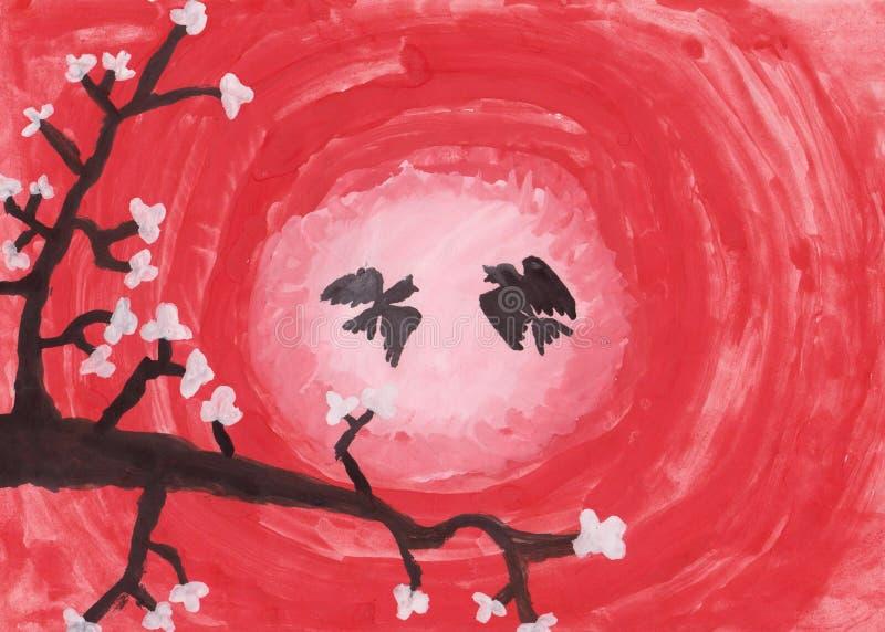 Zeichnung des Kind s Kirschblüte Eine Niederlassung von Kirschblüten mit Vögeln bei Sonnenuntergang lizenzfreie abbildung