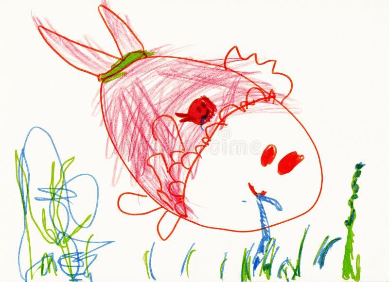 Zeichnung des Kindes auf Papier. Fische essen eine Endlosschraube stock abbildung