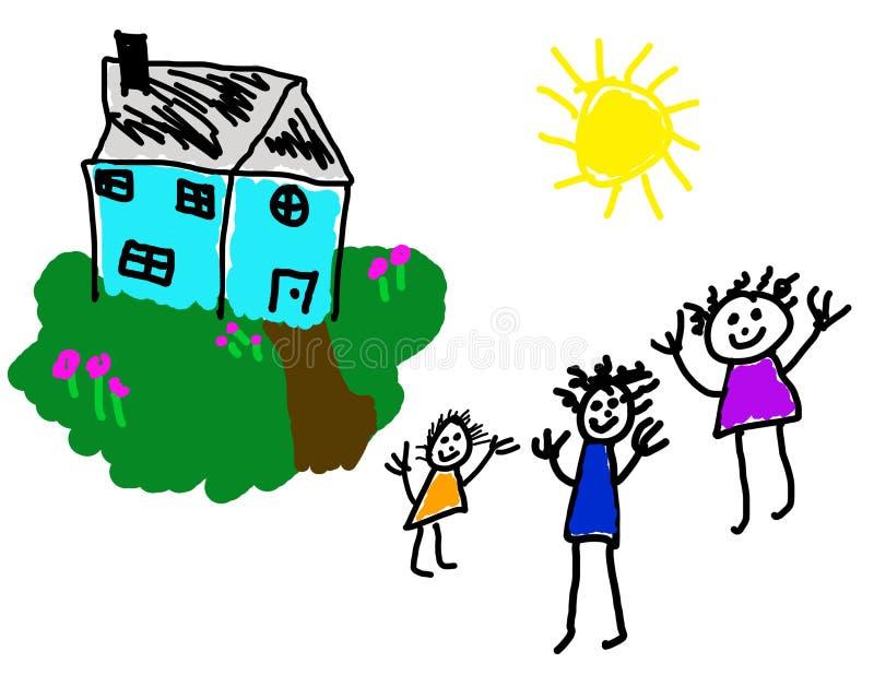 Zeichnung des Kindes des glücklichen Hauses u. der Familie lizenzfreie abbildung