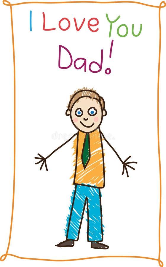 Zeichnung des Kindes. Vatertag. stock abbildung
